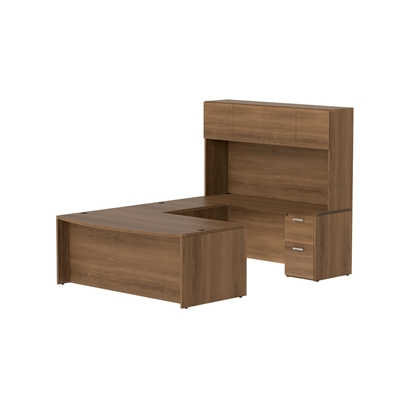 Picture of Cherryman AM-FW3 Bow Front U-Shaped Desk with Hutch