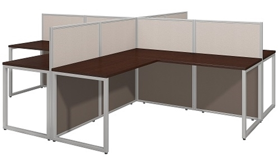 Picture of EOD760MR-03K 4 Person L Shaped Desk Open Office