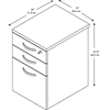 Picture of EOF116MR-03 3 Drawer Mobile Pedestal