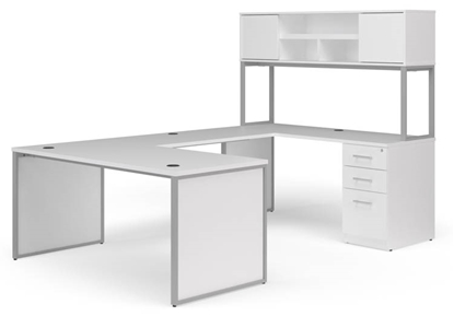 "Picture of OFM Fulcrum FC020 66""W U-Shaped Desk with Hutch and End Panels"