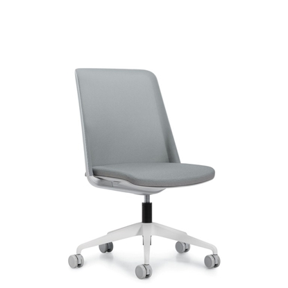 Picture of Global 8459NA Prefer Mesh Back Chair with No Arms, Alabaster Frame, & Alabaster Base