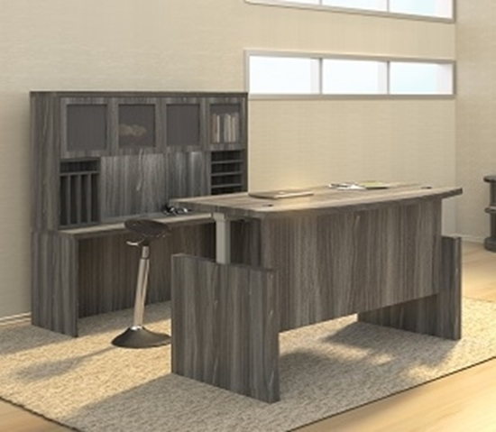 Delicieux Picture Of ABDH7242 Bow Front Height Adjustable Desk With Credenza U0026 Hutch