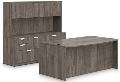 Picture of Offices to Go SL7141BDS Executive Desk with Credenza & Hutch