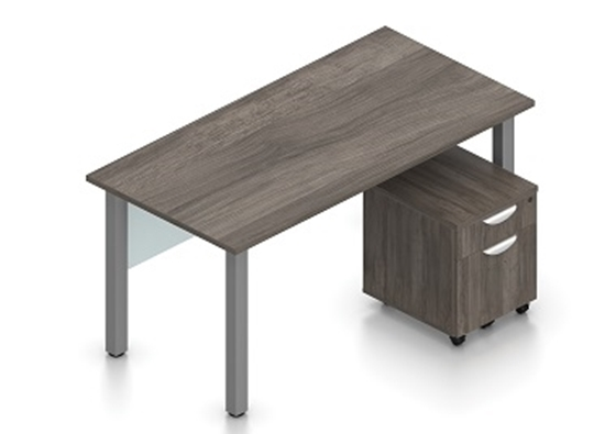 """Picture of Offices to Go SL-1 60""""W Table Desk w/ Mobile Pedestal"""