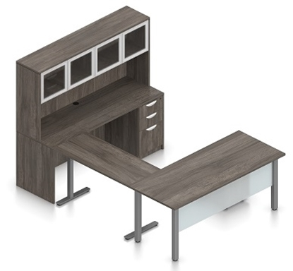 Picture of Offices to Go SL-3 U Shaped Desk w/ Height Adjustable Bridge