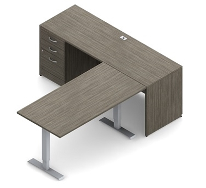 Picture of Global Layout 4B L Shaped Desk w/ Height Adjustable Return