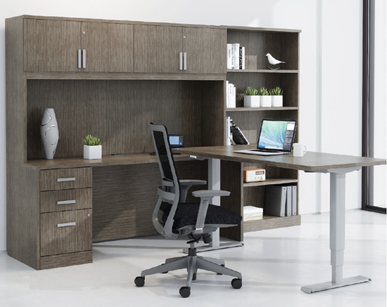 Picture of Global Layout Z2472T Height Adjustable L Shaped Desk