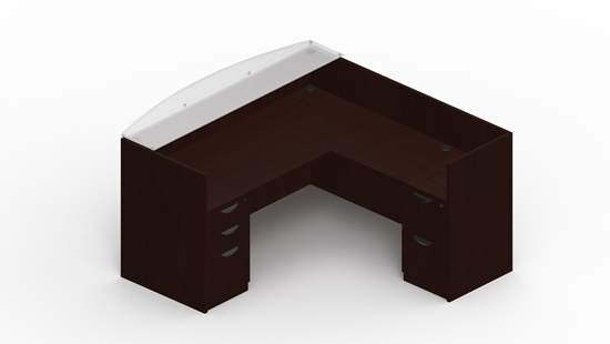Picture of Offices to Go SL7130RDSNT L Shaped Reception Desk with Glass Transaction Top