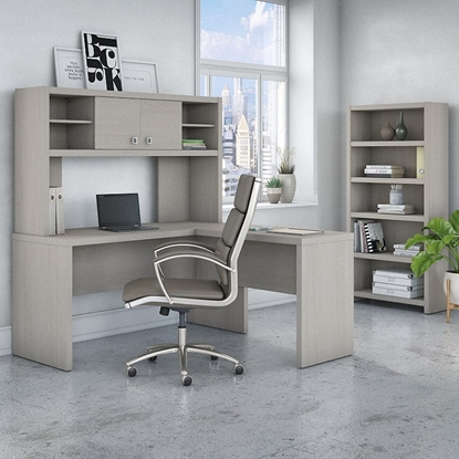 Picture of Office by kathy ireland® Echo ECH033 L -Shaped Desk with Hutch and 5 Shelf Bookcase