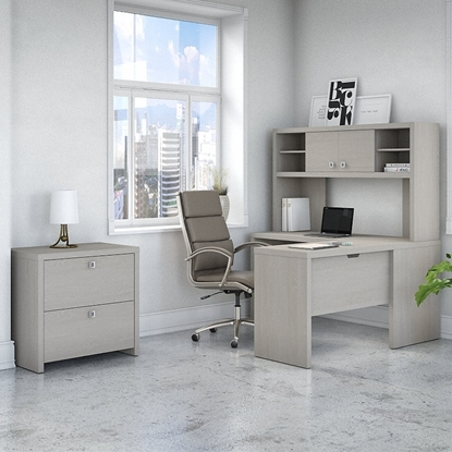 Picture of Office by kathy ireland® Echo ECH032 L-Shaped Desk with Hutch and Lateral File Cabinet