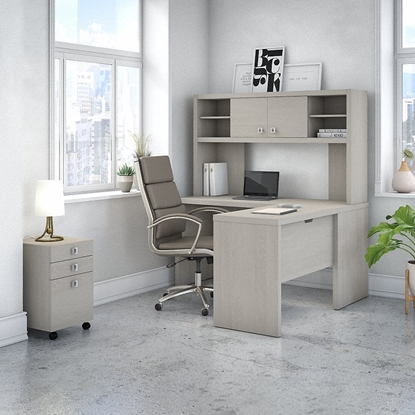 Picture of Office by kathy ireland® Echo ECH009 L-Shaped Desk with Hutch and Mobile File Cabinet