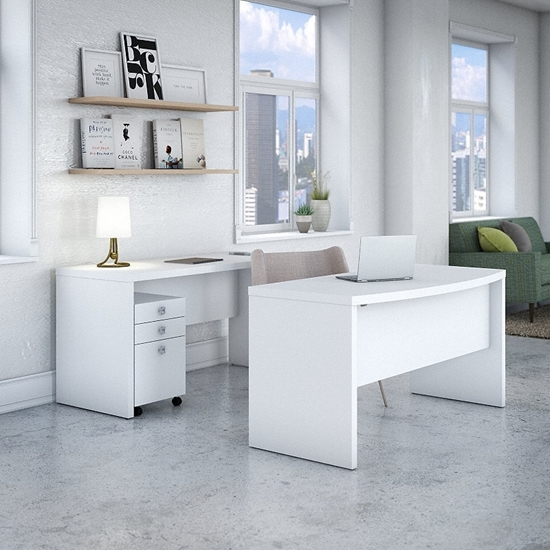 Picture of Office by kathy ireland® Echo ECH010 Bow Front Desk and Credenza