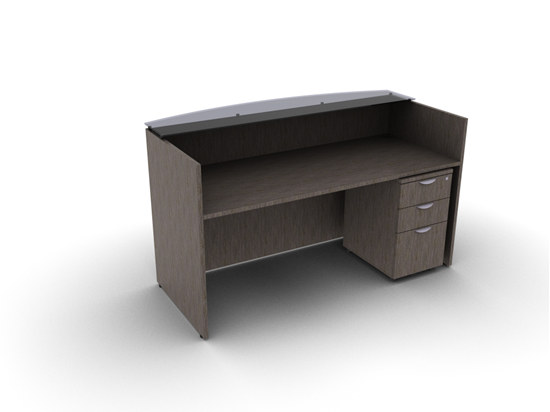 Picture of Offices to Go SL7130RDSNT-SL22BBFM Reception Desk  w/ Glass Top
