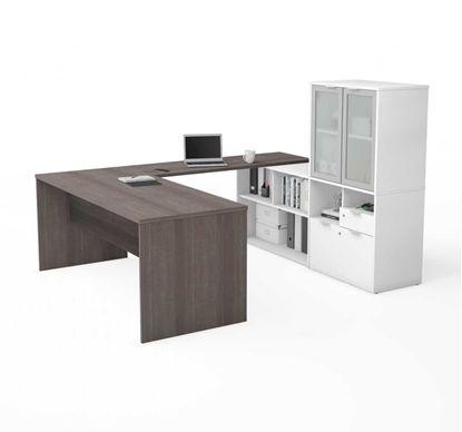 Picture of i3 Plus P/N 160861 -Shaped Executive Desk with Frosted Glass Doors Hutch
