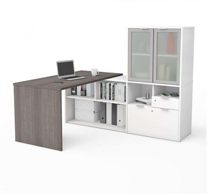 Picture of i3 Plus P/N 160851 L-Shaped Desk with Frosted Glass Doors Hutch