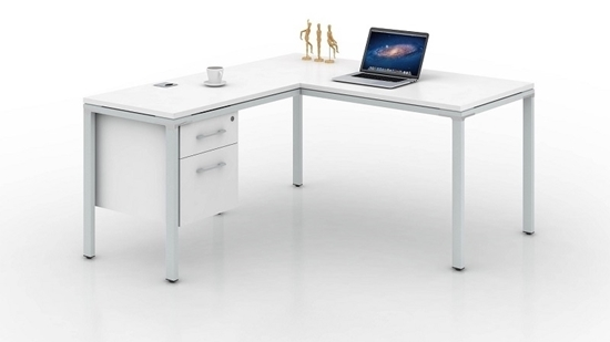 """Picture of Simple System 66""""W L-Shaped Credenza Desk"""